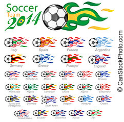 soccer ball set with flag flame isolated