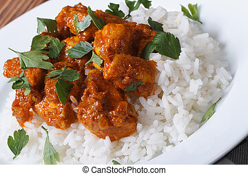 Chicken breast curry with rice on a white plate. Horizontal...