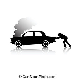 Silhouette of man pushing a broken car steaming