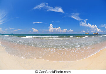 Wide angle beach. - Tropical Beach with wide angle fisheye...