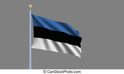 Flag of Estonia with alpha matte - Flag of Estonia waving in...