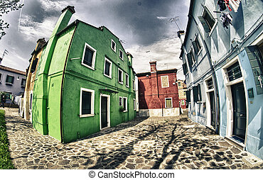 Streets of Burano with colorful homes - Venice