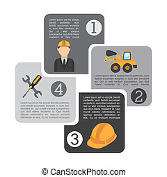 Construction design over gray background, vector...