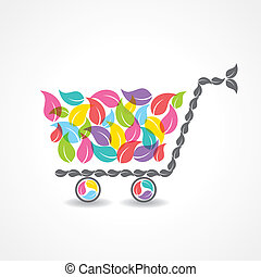 shopping cart with colorful leaf - shopping cart with group...