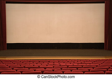 Cinema auditorium - Empty cinema auditorium with line of red...