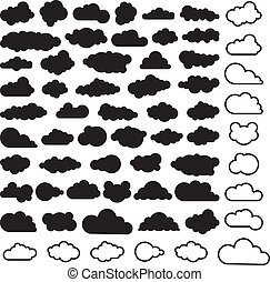 vector cartoon collection of sky clouds, black and white