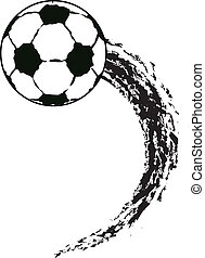 vector grunge flying soccer ball - vector grunge...