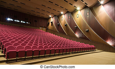 Cinema interior - Interior of cinema auditorium with walls...