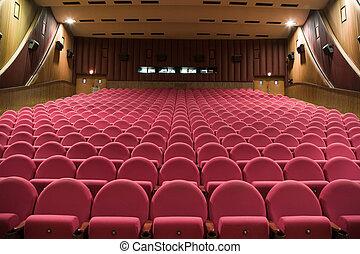 Cinema interior - Interior of cinema auditorium with walls...