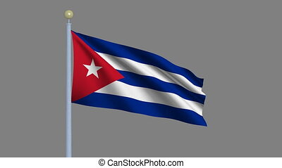 Flag of Cuba with alpha matte - Flag of Cuba waving in the...