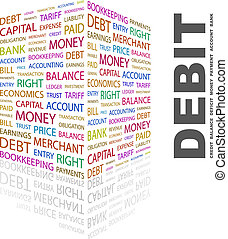DEBIT Word cloud illustration Tag cloud concept collage