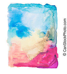 colorful retro vintage abstract watercolour / aquarelle art hand paint on white background