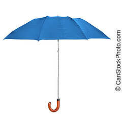 blue umbrella - blueumbrella isolated on pure white...