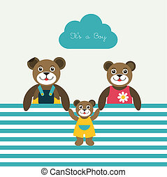 New born baby paper card Modern color flat design Vector...