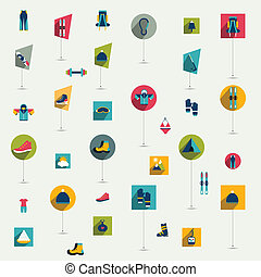 Winter sport and hiking flat icon collection Vector colorful...