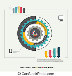 Circle cog wheel diagram template for infographic Graphs,...