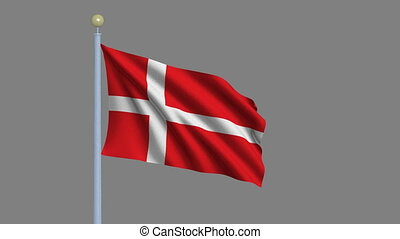 Flag of Denmark with alpha matte - Flag of Denmark waving in...