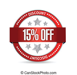 15 percent off seal illustration design over a white...