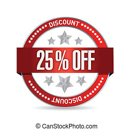 25 percent off seal illustration design over a white...