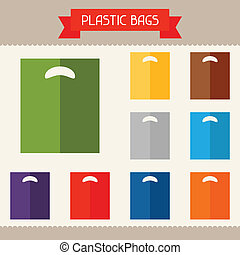 Plastic bags colored templates for your design in flat style...