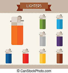 Lighters colored templates for your design in flat style