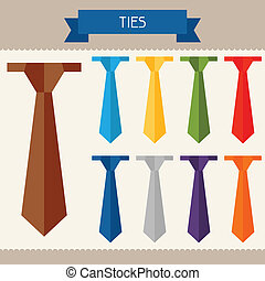 Ties colored templates for your design in flat style.