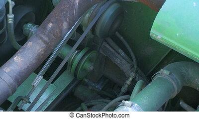 Combine Engine Running - Diesel combine engine running.