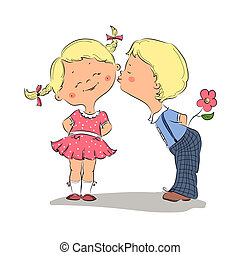 Illustration of kissing boy and girl - Hand drawn...