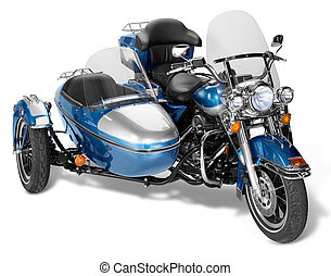 chopper - old motorcycle combination with sidecar in white...