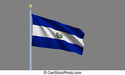 Flag of El Salvador with alpha matte - Flag of El Salvador...