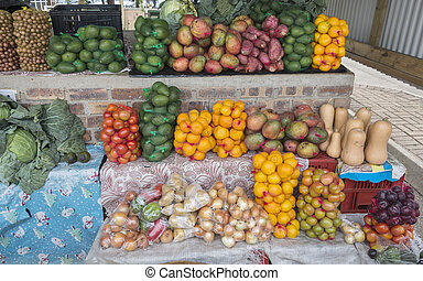 market stall with fresh fruit in african city hazeview -...