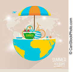Summer holiday background. Vector illustration.