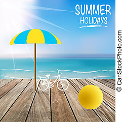 Summer holiday background with wood terrace. Vector...