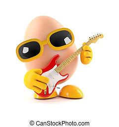 3d Rock egg - 3d render of an egg playing guitar