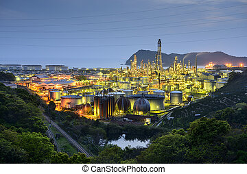 Oil Refineries in Wakayama, Japan.