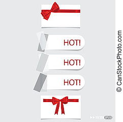 Collection of various note papers with red ribbon, ready for your message. Vector illustration.