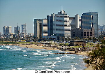 The Tel Aviv sky line - The Tel Aviv, Israel sky line and...