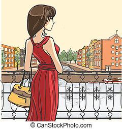 Elegant woman - Series Urban fashion. Street panorama,...