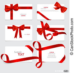 Cards with red gift bows and red ribbons Vector illustration...