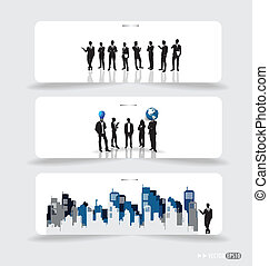 Business people silhouettes on note papers. Vector...