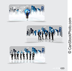 Business people silhouettes with building background on note papers. Vector illustration.