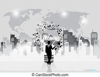 Business people silhouettes and light bulb as inspiration...