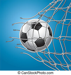 Soccer Goal. Soccer ball or football breaking through the...