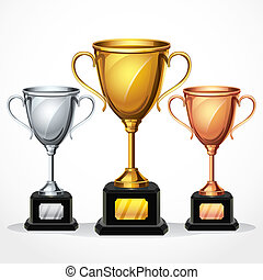 Trophy cups set vector illustration