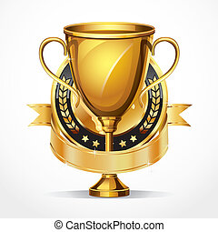 Golden award trophy and Medal. vector illustration