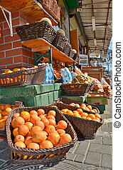 Oranges in the Jaffa Market - Fresh oranges and fruit in the...