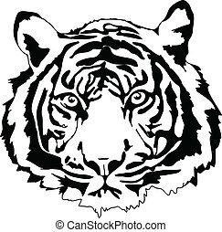 tiger head in black interpretation in vectorial format