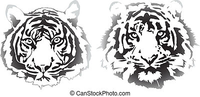 tiger heads in gradient interpretation in vectorial format
