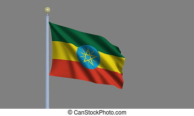 Flag of Ethiopia with alpha matte - Flag of Ethiopia waving...