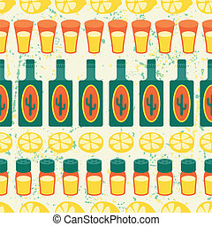 Mexican seamless pattern with tequila in native style